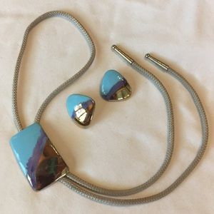 Ceramic bolo tie and matching earrings